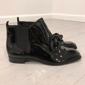Tory Burch black patent leather Chelsea boots mod